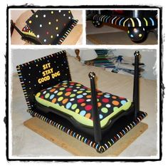 Treat your small dog lbs max for this bed) to a bed fit for a prince or a princess! Bright fun colors with an overstuffed mattress that will allow your dog to snooze in comfort. Dyi Dog Bed, Diy Cat Bed, Cool Dog Beds, Diy Dog, Old End Tables, Homemade Beds, Dog Accesories, Accessories, Dog Furniture