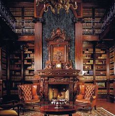 Hardwood, Cathedral/Arched, Rustic, Traditional, Built-in bookshelves/ cabinets, Loft, Chandelier, marble wall above fireplace