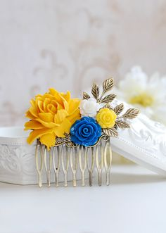 Bridal Hair Comb Yellow and Blue Wedding Hair Accessory by LeChaim