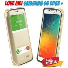 Fundas y carcasas Samsung Galaxy S6 Edge Plus metal aluminio diseño lujo diamantes color dorada.