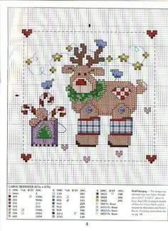 Cross-stitch Reindeer More Xmas Cross Stitch, Cross Stitch Needles, Counted Cross Stitch Patterns, Cross Stitch Charts, Cross Stitch Designs, Cross Stitching, Cross Stitch Embroidery, Reno, Christmas Cross