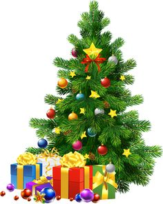 Large Transparent PNG Christmas Tree with Gifts