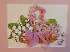 Embroidered satin ribbons Lilies of the by infantaShabbychic