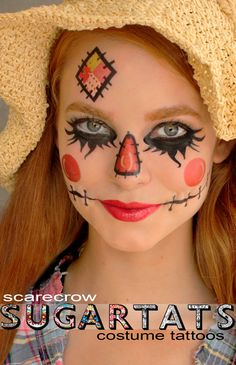 Scarecrow set of temporary tattoos that are makeup aids to create fantasy makeup looks The Scarecrow tattoo set - contains a nose, under eye lashes, mouth pieces and forehead patch tattoos. They are really fun! They are great for adults and children, they can be trimmed down in size to fit...