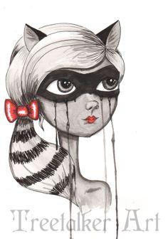 Halloween art Original painting Racoon Costume by treetalker Halloween Art, Halloween Makeup, Diy Costumes, Halloween Costumes, Aerial Costume, Face Illustration, Raccoons, White Queen, Lost Boys