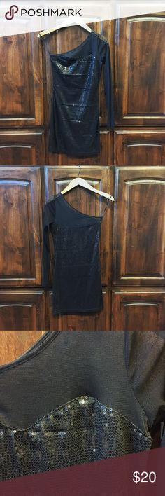 One shoulder black Lace and sequin dress One shoulder black Lace and sequin dress in Small. It is tight fitting. Forever 21 Dresses One Shoulder