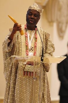 "Prof. Wande Abimbola of Nigeria, representing Africa's traditional Yoruba religion, sang a prayer and shook a percussion instrument as he told the delegates that peace can only come with greater respect for indigenous religions. ""We must always remember that our own religion, along with the religions practiced by other people, are valid and precious in the eyes of the Almighty, who created all of us with such plural and different ways of life and belief systems,"" he said"