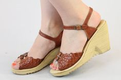 06da67362189 Items similar to 1970s Sandals Deadstock Shoes 6   70s Vintage Wedges Braided  Platforms   Greta Sandals on Etsy
