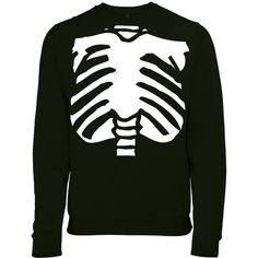 Halloween Spooky Skeleton Torso Womens Printed Fancy Dress Sweatshirt... ($38) ❤ liked on Polyvore featuring tops, hoodies, sweatshirts, black, women's clothing, sweat shirts, sweatshirts hoodies, fancy tops, black sweatshirt and sweat tops