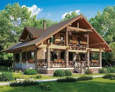 Perfect for retirement Log Cabin Homes, Cottage Homes, Hut House, Villa, Dream House Exterior, Stone Houses, Tropical Houses, House In The Woods, My Dream Home