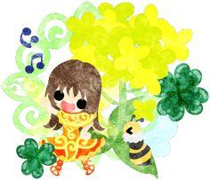 春のフリーのイラスト素材可愛い妖精と綺麗な菜の花と蜂とクローバー  Free Illustration of spring Pretty fairy and beautiful brassica and bee and clover   http://ift.tt/2mHK8F4