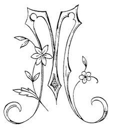 Alphabet M - Album photos - Broderie d'Antan Embroidery Alphabet, Embroidery Monogram, Vintage Embroidery, Embroidery Stitches, Embroidery Designs, Machine Embroidery, Illuminated Letters, Illuminated Manuscript, Calligraphy Alphabet