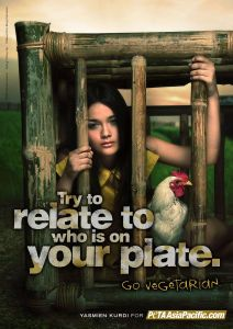 Try to empathize with suffering that isn't your own. Go vegan.  Yasmien Kurdi in New PETA Ads