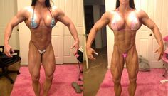"Angela Salvagno (confirmed):""I found my 2011 13 weeks out pic from the Tampa Pro and the pink one is today at 13 weeks out.:)"""