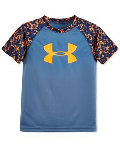 He'll stand out in camo with this moisture-wicking t-shirt from Under Armour featuring the signature logo at the chest.   Polyester   Machine washable   Imported   Crew neck   Short sleeves   Camo pri