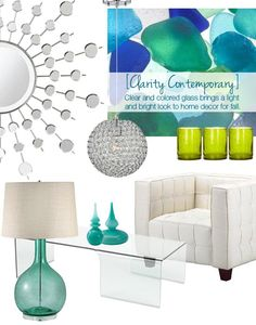 Hot design trend for 2012 - clarity contemporary. The Clarity Contemporary design trend features clear and colored glass that brings a light and bright look to home decor. Transparent crystal and shimmering mirrored finishes complement the look and provide the perfect on-trend decor accents. Be bold with seaglass-inspired hues in every shade of the rainbow!