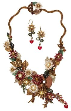 Bib-Style Necklace and Earring Set with Cultured Freshwater Pearls, Seed Beads and Brown Goldstone Beads and Focal