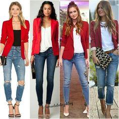Looks com tom vermelho 😍 Usaria ? Foto repost by - . Red Blazer Outfit, Blazer Outfits Casual, Look Blazer, Blazer Fashion, Chic Outfits, Fall Outfits, Fashion Outfits, Kimono Lingerie, Smart Casual Women