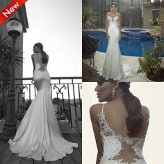 2014 New Autumn Wedding Dresses Mermaid Court Train Backless Satin Wedding dress High quality Famous Designer  Free shipping