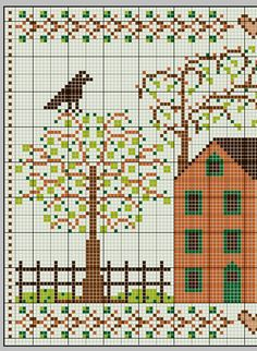 Free fall autumn cottage pattern