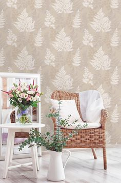 Bramble is an overlapping leaf design which features mica elements and chalky highlights Tree Wallpaper, Nature Wallpaper, Grey And Gold Wallpaper, Easy Up, Door Murals, Bramble, Nature Tree, Leaf Design, Designer Wallpaper