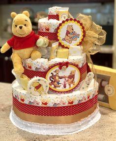 4 Tier Winnie the Pooh Diaper Cake Diaper Cake Centerpiece Winnie the Pooh Baby Shower Baby Shower Gift Basket, Best Baby Shower Gifts, Baby Shower Diapers, Baby Boy Shower, Diy Baby Gifts, Baby Crafts, Diy Diaper Cake, Nappy Cakes, Diaper Cake Centerpieces