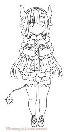 Kamui Kobayashi, Kobayashi San, Dragon Ball, Anime Lineart, Kanna Kamui, Miss Kobayashi's Dragon Maid, Pencil Art Drawings, Anime Meme, Manga Characters