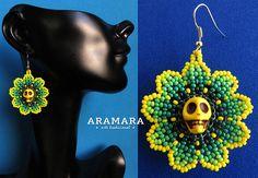 Huichol Skull Earrings 001 Mexican earrings Huichol earrings