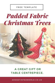 Padded Fabric Christmas Trees - Festive Craft DIY sewing pictorial tutorial and template to make these cute fabric chris Christmas Sewing, Christmas Crafts, Christmas Ornaments, Christmas Décor, Christmas Countdown, Handmade Christmas, Christmas Ideas, Fabric Christmas Trees, Christmas Presents