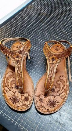 Hand carved leather sandals- the details are incredible!