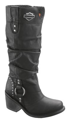 83562 - Harley-Davidson® Womens Jana Black Leather High Cut Boot - Barnett Harley-Davidson®