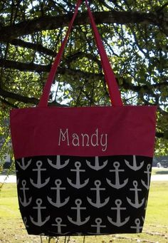 Monogrammed Black and White Anchor Tote with Pink Trim | The Old Bag's Bags
