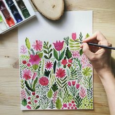 Oh my so beautiful, with spring vibes! Markovka ART Oh my so beautiful, with spring vibes! Art Floral, Floral Doodle, Doodle Flowers, Gouache Painting, Painting & Drawing, Watercolor Paintings, Watercolors, Watercolour Drawings, Illustration Blume