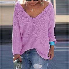 V-neck Loose Knit Pure Color Pullover Sweater - Meet Yours Fashion - 1