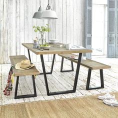 I like the table. Something like this for the dining table where it is wood on top, but metal legs? Might help break up the wood table from the hardwood. - My Dreamy Interiors Decor, Kitchen Benches, Farmhouse Kitchen Tables, Dining Room Table, Furniture, Metal Dining Table, Interior, Wooden Dining Tables, Industrial Style Kitchen