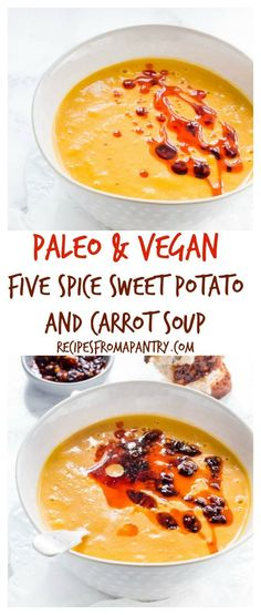 Easy five spice sweet potato and carrot soup is so thick, velvety and tasty. It is a vegan, gluten free and paleo soup recipe too. #paleosoup #vegansoup #sweetpotatoandcarrotsoup #sweetpotatosoup #carrotsoup #paleorecipes #paleolunchrecipes #paleodinnerre