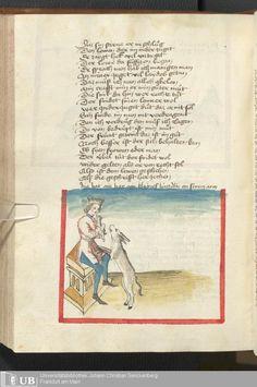 Folio 205v  Puppy! (NOPE - Goat.)   Ms. germ. qu. 6 - Der Renner AuthorHugo <von Trimberg>  ScribeWerner, Ulrich  PublishedSchwaben, [1446; um 1450] Goethe-Universität, Frankfurt am Main,  Mittelalterliche Handschriften collection