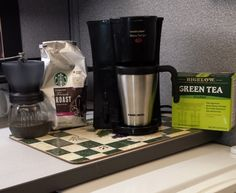 Tips – Create a Coffee and Tea Corner in your Office Cubicle   Cubicle Bliss   CubicleBliss.com   If you'd like to spice up the corner of your #office #cubicle, consider adding a coffee and tea corner.  It will add that little touch of home that will make your workday a little more palatable!