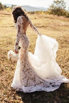 Gorgeous Backless Lace Mermaid Ivory Wedding Dresses with Appliques , SW132