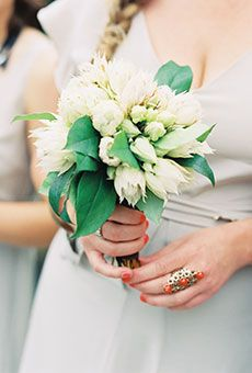 White Posy of Proteas and Greenery   Wedding Flowers