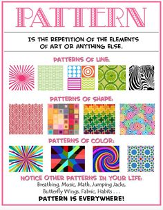 to Quilt: Principles of Design-Pattern/Repetition (Week Design to Quilt (Week - Repetition & PatterningDesign to Quilt (Week - Repetition & Patterning Elements Of Art Line, Formal Elements Of Art, Elements And Principles, Elements Of Design, Art Doodle, Art Room Posters, Classe D'art, Art Handouts, Art Worksheets