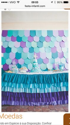 Ruffled tablecloth, party decorations, backdrop