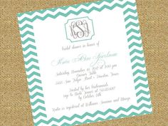 This monogrammed chevron Bridal Shower Invitation has to be my favorite yet! I am in love with the turquoise and gray!