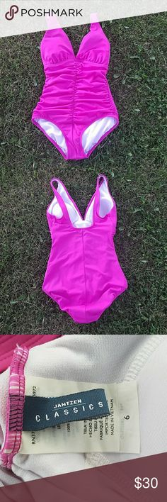 Jantzen One Piece Swimsuit Beautiful hot pink color that will never go out of style. Excellent condition. Worn twice. No rips, stains, or pilling Jantzen Swim One Pieces