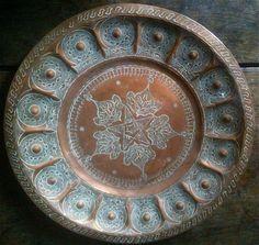 Vintage Moroccan Copper Fancy Tray Plate / English Shop
