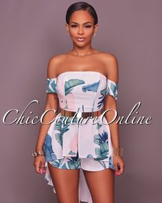 Chic Couture Online - Kaylie Printed Off The Shoulder Neckline Romper, $60.00 (http://www.chiccoutureonline.com/kaylie-printed-off-the-shoulder-neckline-romper/)