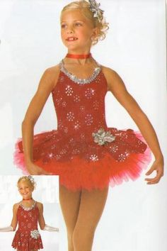 Red Red Rose Dance Costume Leotard,Tap Skirt Ballet Jazz Child X-Small Clearance