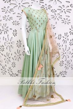 PalkhiFashion Exclusive Light Pista Soft Silk Outfit With Beautiful Handwork Duppata Indian Fashion Dresses, Indian Gowns Dresses, Indian Designer Outfits, Indian Outfits, Evening Dresses, Anarkali Dress, Lehenga, Designer Party Wear Dresses, Saree Blouse Designs