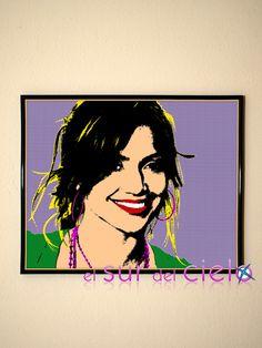 Retrato de Jennifer Lopez convertido en arte pop. Podemos hacer lo mismo con tus fotografías favoritas www.elsurdelcielo.com