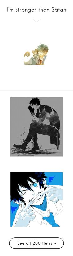 """""""I'm stronger than Satan"""" by hanabusa ❤ liked on Polyvore featuring anime, blue exorcist, render, manga, home, bed & bath, bath, bath towels, blue bath towels and drawings"""